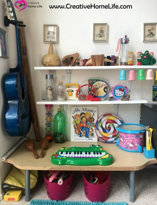 Music Corner in the playroom at the Creative Home Life Blog -